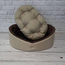 Лежак для собак и котов бежевый с коричневым