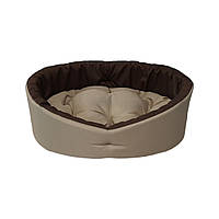 Лежак для собак и котов бежевый с коричневым, фото 2