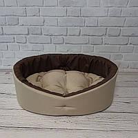 Лежак для собак и котов бежевый с коричневым, фото 3