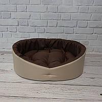 Лежак для собак и котов бежевый с коричневым, фото 4