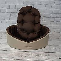 Лежак для собак и котов бежевый с коричневым, фото 5