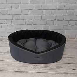 Лежак для собак и котов серый/черный