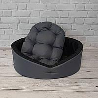 Лежак для собак і котів сірий/чорний, фото 2