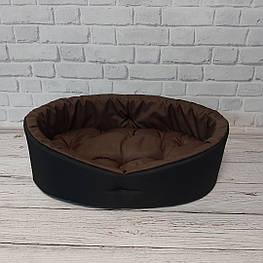 Лежак для животных черный/коричневый