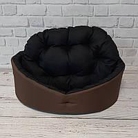 Лежанка, лежак для собак и котов коричневый/черный, фото 4