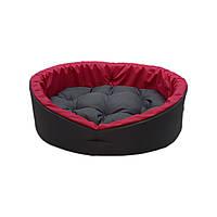 Лежанка для тварин, лежак для собак і котів сірий/рожевий, фото 2