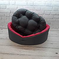 Лежанка для тварин, лежак для собак і котів сірий/рожевий, фото 3