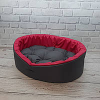 Лежанка для тварин, лежак для собак і котів сірий/рожевий, фото 4