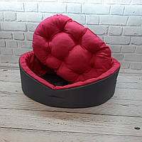 Лежанка для тварин, лежак для собак і котів сірий/рожевий, фото 5