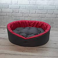 Лежанка для тварин, лежак для собак і котів сірий/рожевий, фото 6