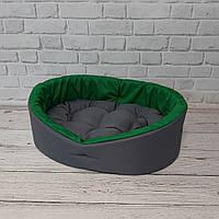 Лежак для животных, лежанка для собак и котов серый/зеленый, фото 2