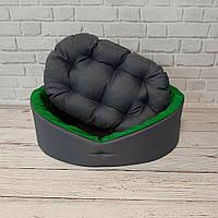 Лежак для животных, лежанка для собак и котов серый/зеленый, фото 3