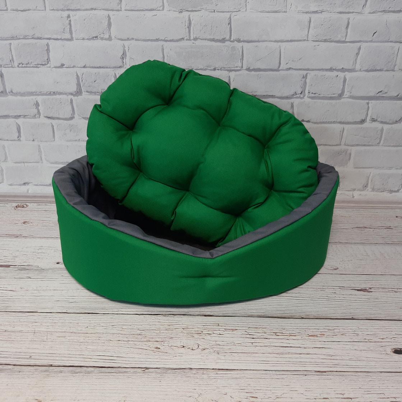 Лежак двосторонній для собак і котів зелений/сірий