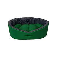 Лежак двосторонній для собак і котів зелений/сірий, фото 2