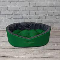 Лежак двосторонній для собак і котів зелений/сірий, фото 3