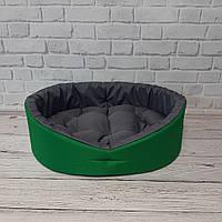 Лежак двосторонній для собак і котів зелений/сірий, фото 4