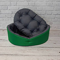 Лежак двосторонній для собак і котів зелений/сірий, фото 5