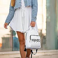 Стильний шкіряний жіночий рюкзак KENZO, кензо. Білий, фото 3
