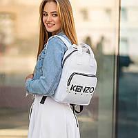 Стильний шкіряний жіночий рюкзак KENZO, кензо. Білий, фото 4