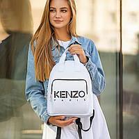 Стильний шкіряний жіночий рюкзак KENZO, кензо. Білий, фото 5
