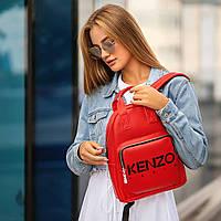 Стильный кожаный женский рюкзак. Красный, фото 2