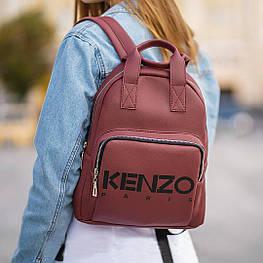 Стильний шкіряний жіночий рюкзак KENZO, кензо. Бордовий