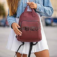 Стильний шкіряний жіночий рюкзак KENZO, кензо. Бордовий, фото 4