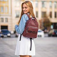 Стильный кожаный женский рюкзак. Бордовый, фото 5