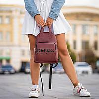 Стильний шкіряний жіночий рюкзак KENZO, кензо. Бордовий, фото 7