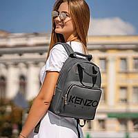 Стильний шкіряний жіночий рюкзак Paris. Сірий, фото 2