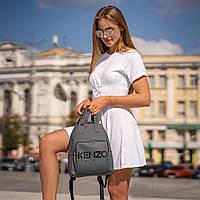 Стильний шкіряний жіночий рюкзак Paris. Сірий, фото 6