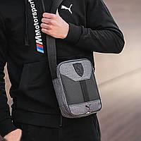 Стильная сумка через плечо, барсетка Puma Ferrari, пума ферари. Серая с черным, фото 5