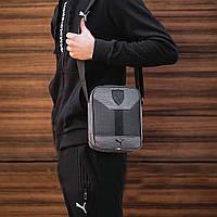 Стильная сумка через плечо, барсетка Puma Ferrari, пума ферари. Серая с черным, фото 6