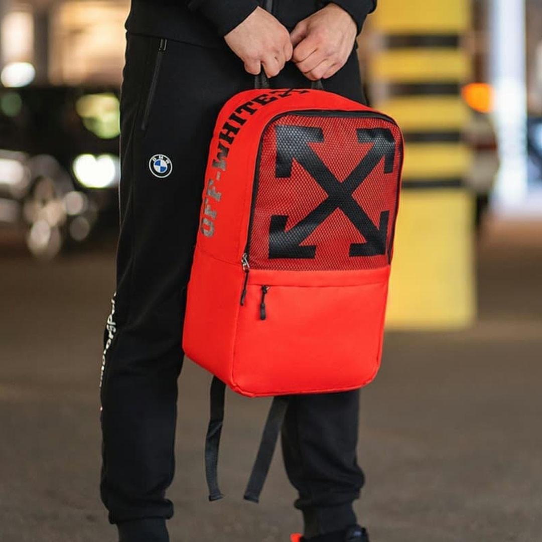 Стильний рюкзак міський OFF WHITE, оф вайт. Червоний