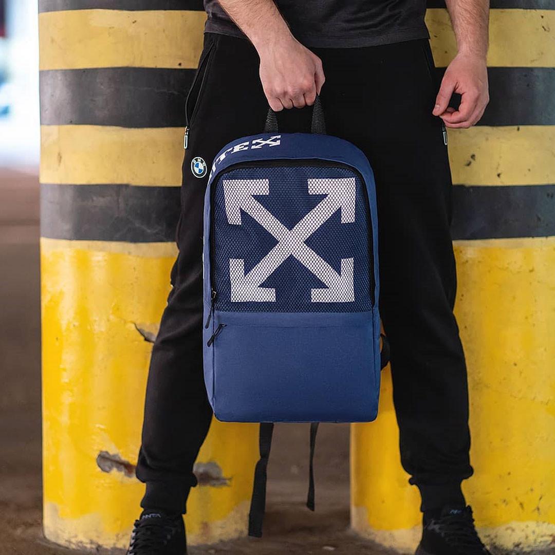 Стильный городской рюкзак OFF WHITE, оф вайт. Синий