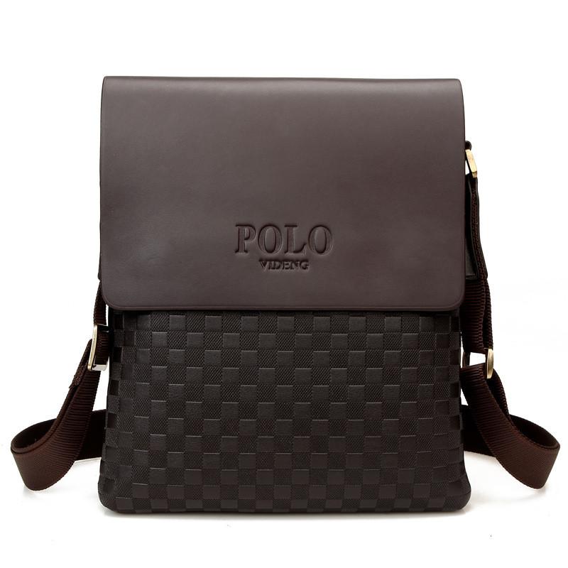 Мужская сумка через плечо Polo Videng, поло. Коричневая. 28x22x4,5