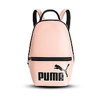 Рожевий жіночий невеликий рюкзак Puma, пума. Кожзам, фото 2