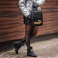 Жіночий стильний рюкзак Puma, пума. Чорний. Кожзам, фото 4
