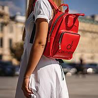 Червоний жіночий рюкзак з шкіри PU. Стильний та зручний, фото 3