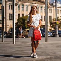 Червоний жіночий рюкзак з шкіри PU. Стильний та зручний, фото 5