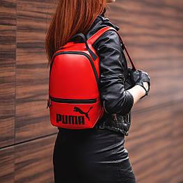 Красный женский небольшой рюкзак Puma, пума. Кожзам