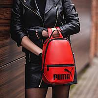 Червоний жіночий невеликий рюкзак Puma, пума. Кожзам, фото 3