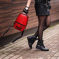 Червоний жіночий невеликий рюкзак Puma, пума. Кожзам, фото 4