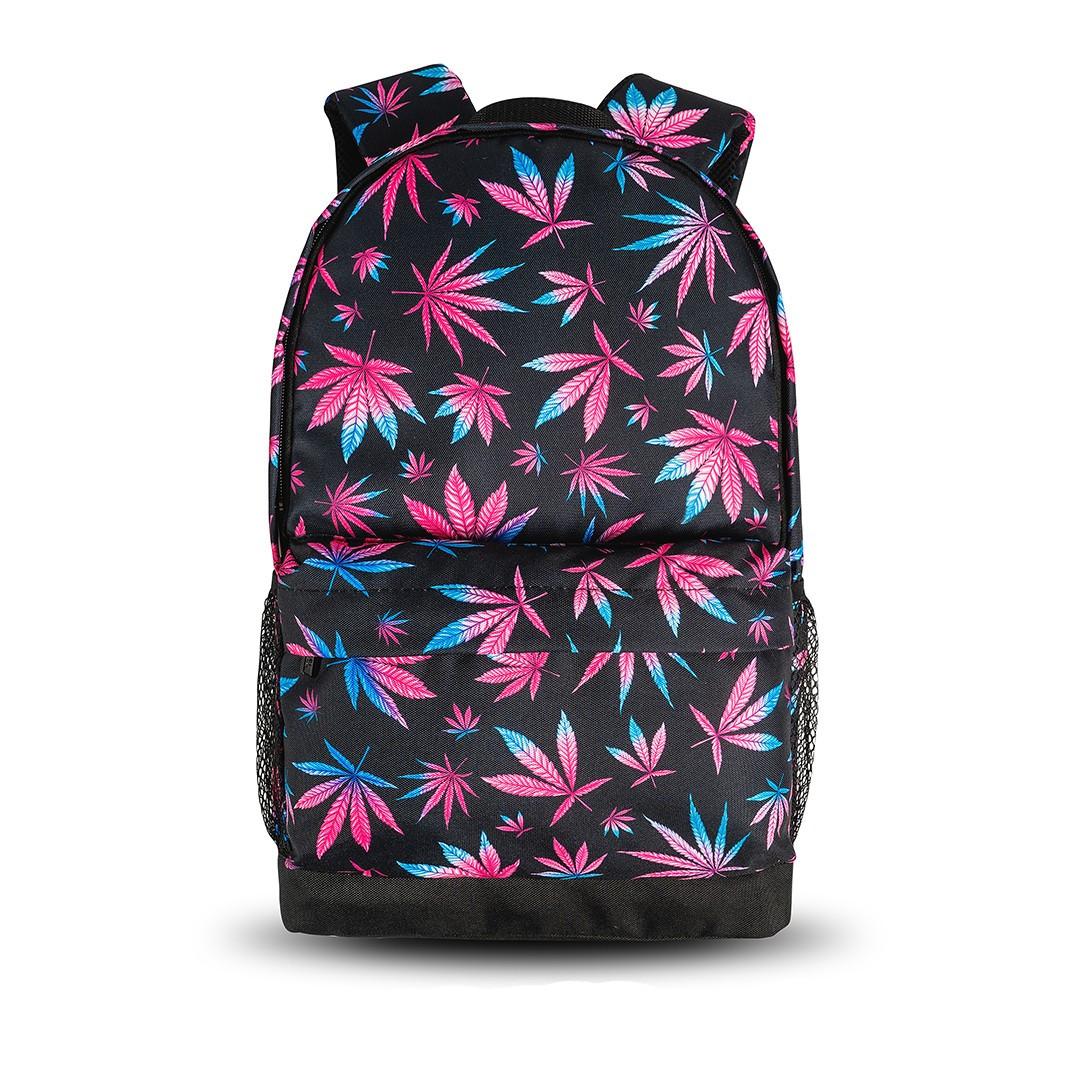 Яскравий рюкзак з принтом Коноплі, кольоровий. Для подорожей, тренувань, навчання