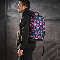 Яскравий рюкзак з принтом Коноплі, кольоровий. Для подорожей, тренувань, навчання, фото 2