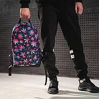 Яскравий рюкзак з принтом Коноплі, кольоровий. Для подорожей, тренувань, навчання, фото 3
