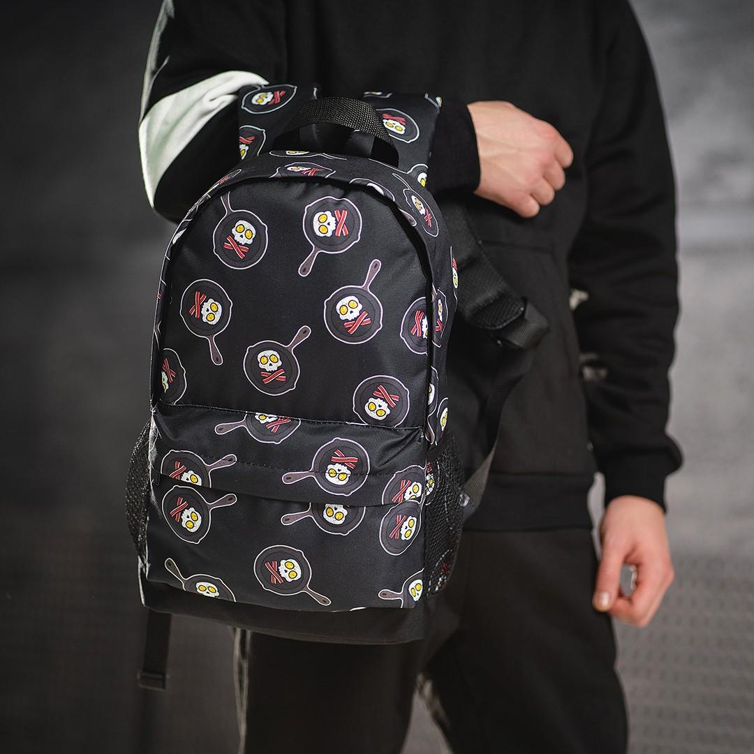 Яркий рюкзак с принтом черепки сковорода. Для путешествий, тренировок, учебы