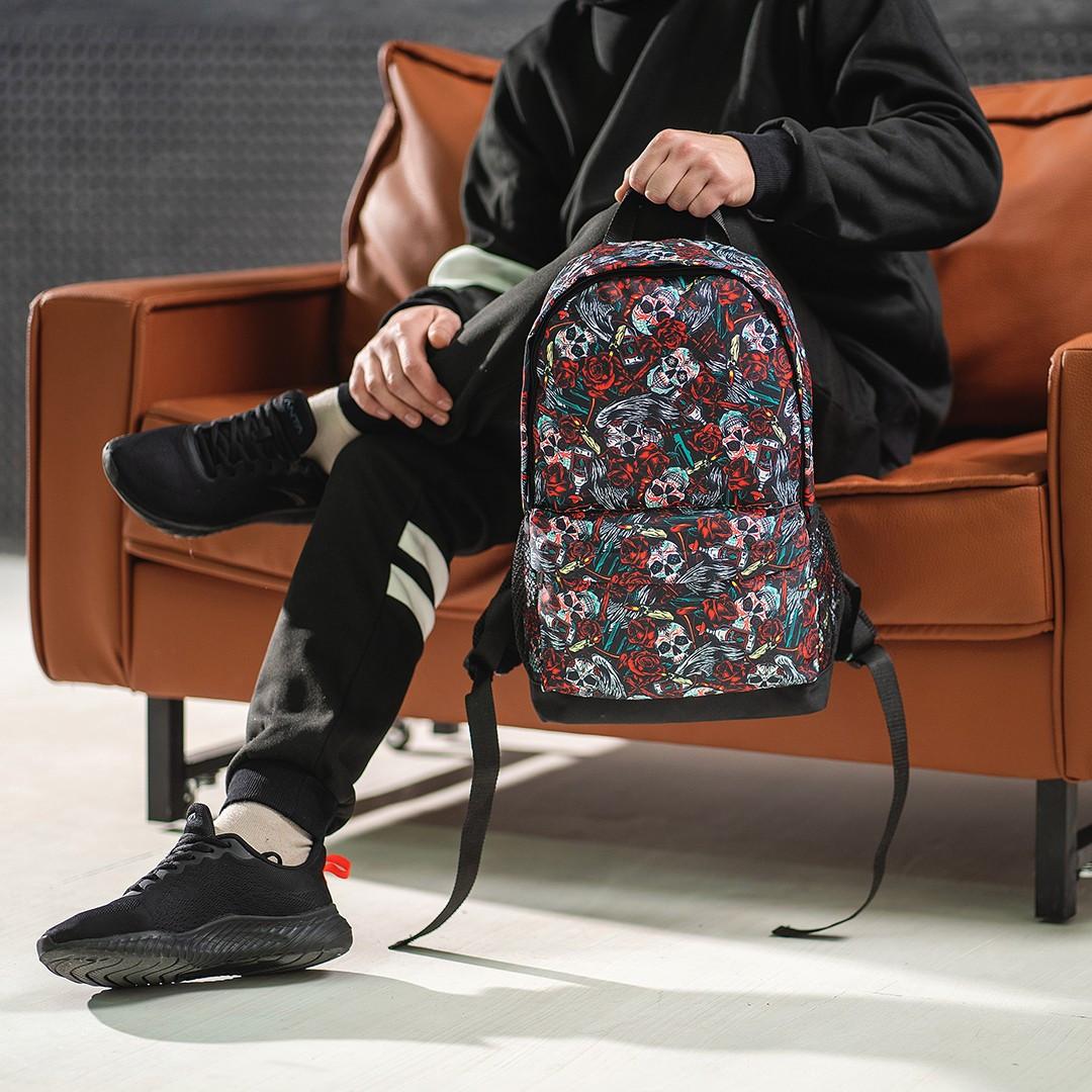 Класний рюкзак з принтом черепа квіти. Для подорожей, тренувань, навчання