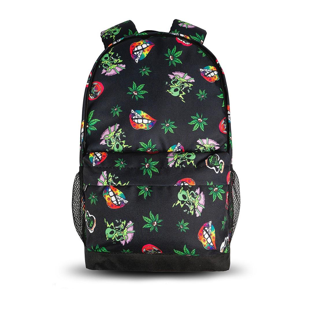 Крутой рюкзак с принтом Пришельцы Конопля. Для путешествий, тренировок, учебы