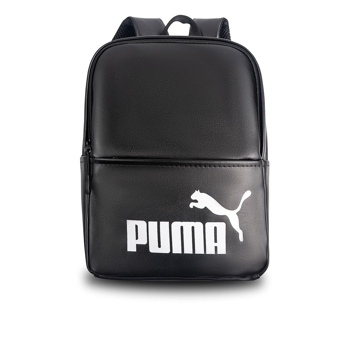 Женский небольшой черный рюкзак Puma, пума. Белый лого. Кожзам